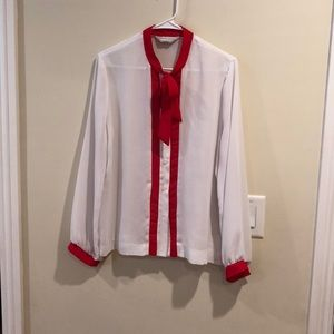 Red & White Blouse